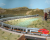 A sweeping photo of a silver-colored HO Scale Sante Fe streamlined passenger train pulled through a desert Southwest scene.