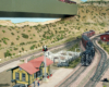 Vertical image combines two Santa Fe scenes on a double-deck layout as it might have appeared in New Mexico.