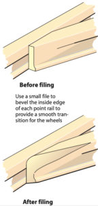 Diagram showing the switch points of a model railroad turnout before and after filing.