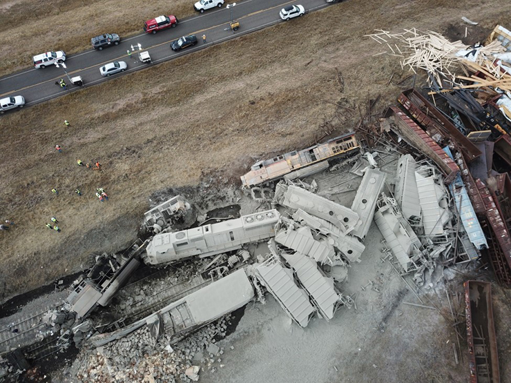 Overhead view of derailed train