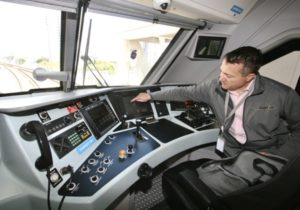 Engineer in a train cab