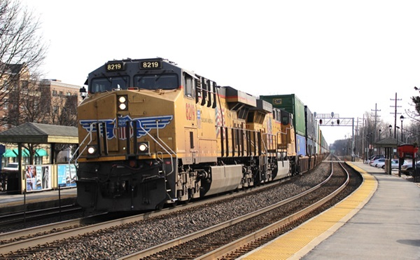 Freight train on curve