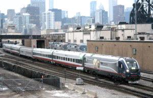 Passenger train in urban environment