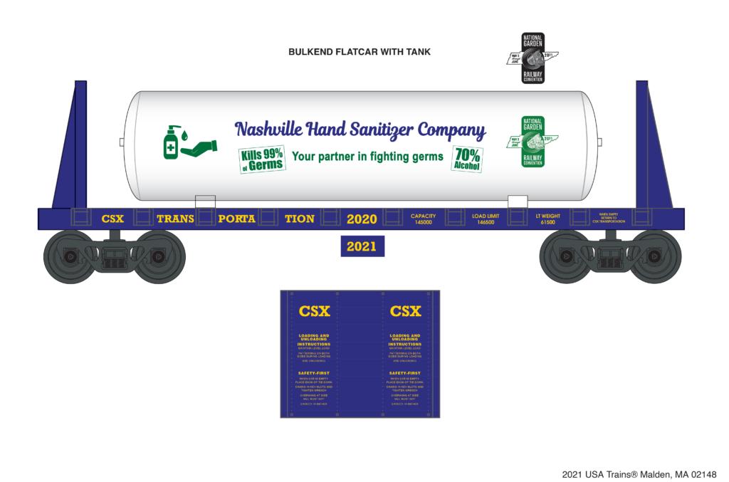 2021 National Garden Railroad Convention USA Trains 1:24 scale CSX bulkhead flatcar with hand sanitizer tank load