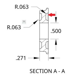 Section view inside dimensions