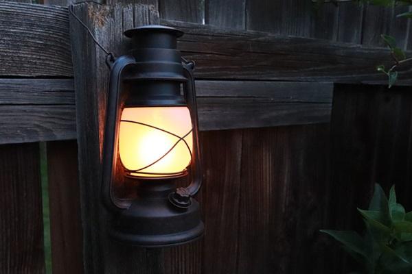 Close up of lit battery-powered lantern