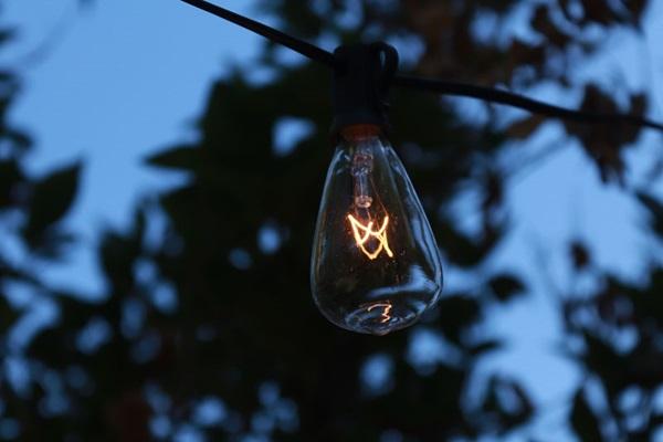 Close up of lit string light