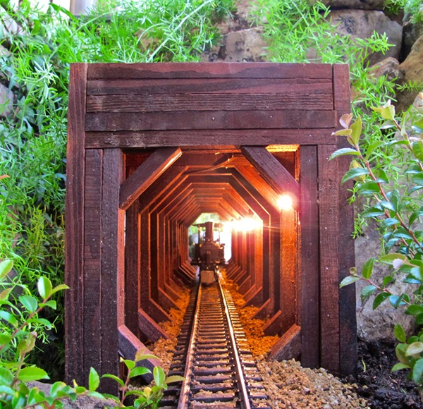 The author designed her rear-of-the-railway tunnel for viewing from a glider on the front door stoop