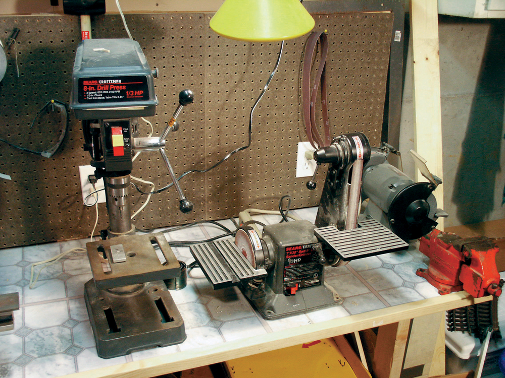 grouping of tools on a workbench