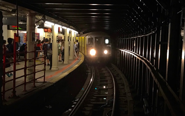 Subway train arriving in station