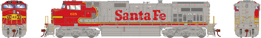 Locomotive from the front, side, and back