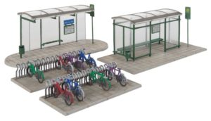 Two bus shelters and bike racks
