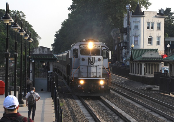Commuter train approaching station