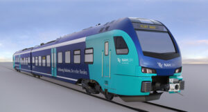 A computer image of the Stadler battery-electric trainsets