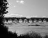 Black and white image of two trains paused on a bridge.