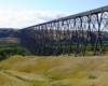 A long steel girder trestle.