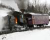A cog railway steam locomotive emitting steam and smoke.
