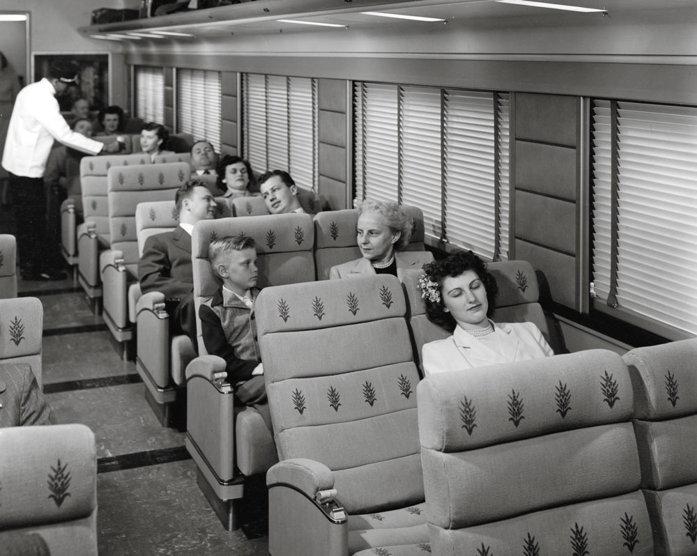 Interior view of coach with passengers seated