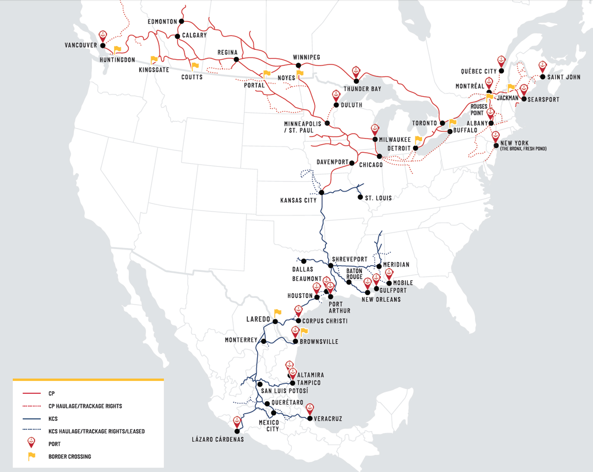 Map of the combined Canadian Pacific-Kansas City Southern system