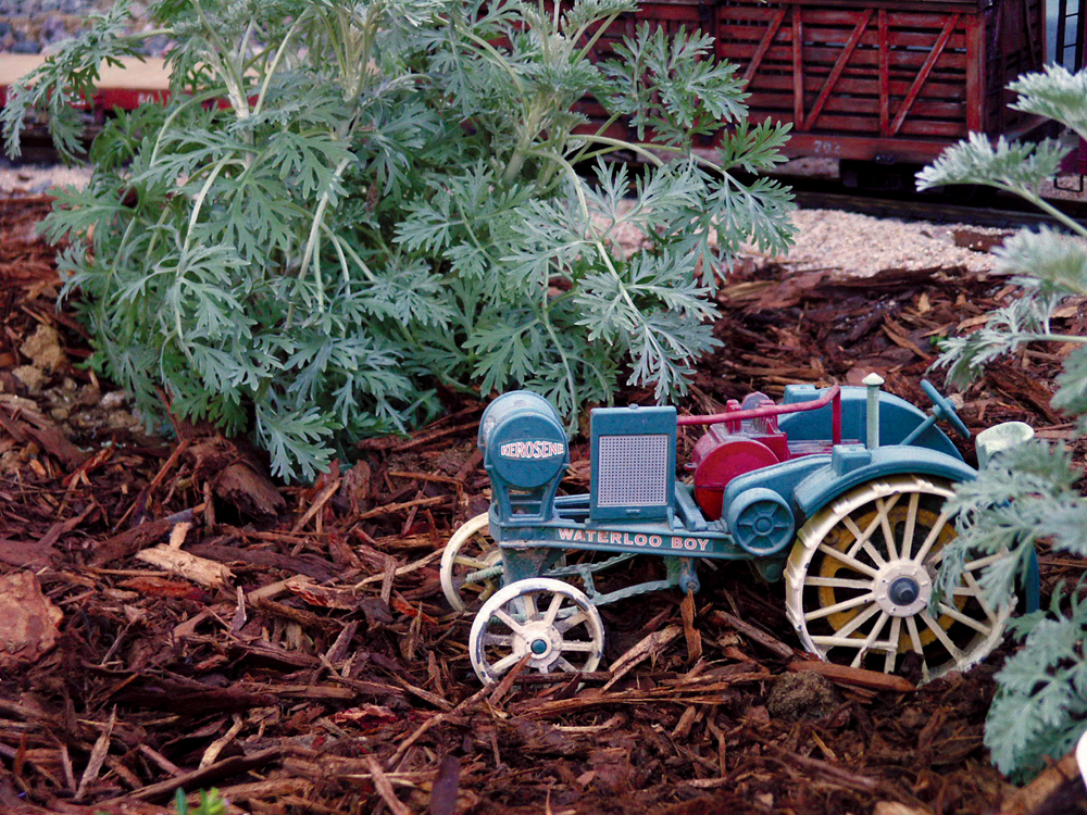 A vintage tractor model found at a yard sale fits in this garden railway scene.