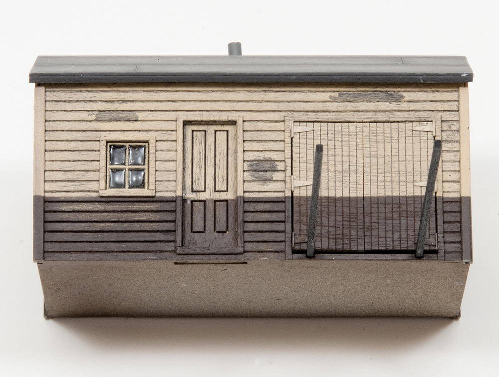HO scale shed with window glazing made using Microscale Kristal Klear.