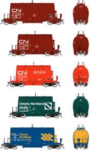 Five barrel ore hopper cars in various cars