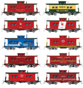 Ten cabooses in different color schemes
