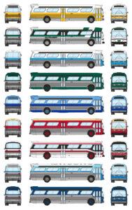 Nine new look buses in various colors