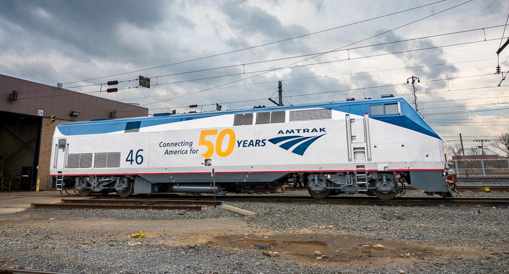 Amtrak anniversary locomotive