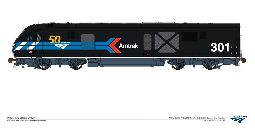 Amtrak locomotive in black paint scheme