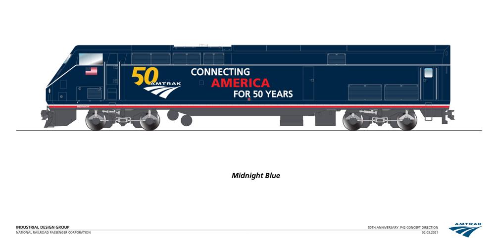 Amtrak locomotive in new Midnight Blue paint scheme