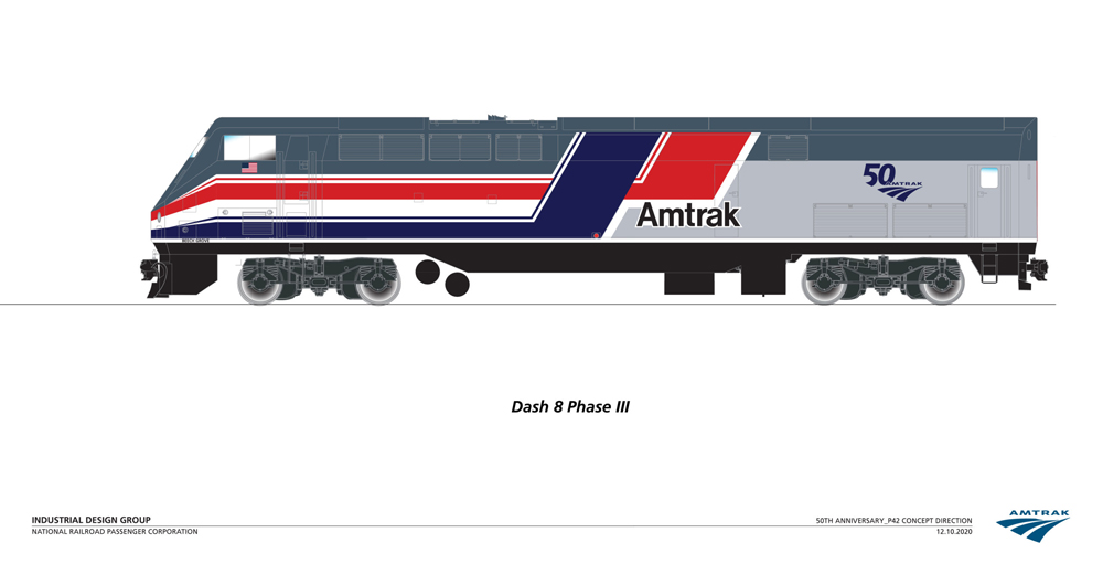 """Drawing of Amtrak locomotive with """"Pepsi Can"""" scheme"""