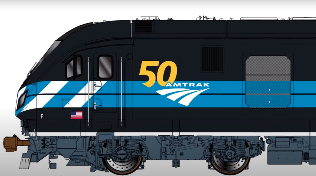 Side-view front portion of an illustration of an Amtrak locomotive in a new, blue paint scheme.