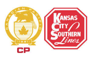 Logos for Canadian Pacific and Kansas City Southern