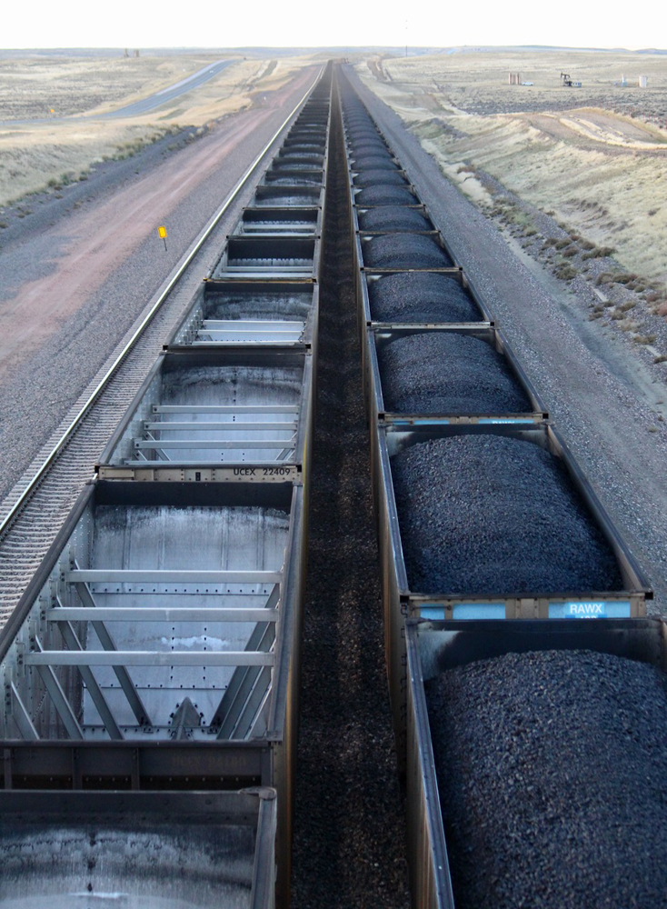 Two rows of coal hoppers