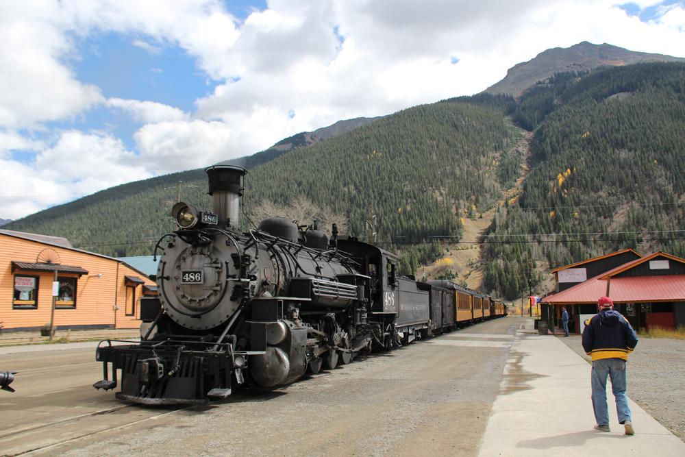 A Durango & Silverton train in Silverton, Colo., in October 2018.