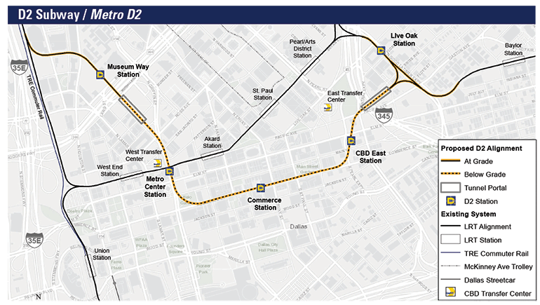 Map of proposed Dallas D2 subway line