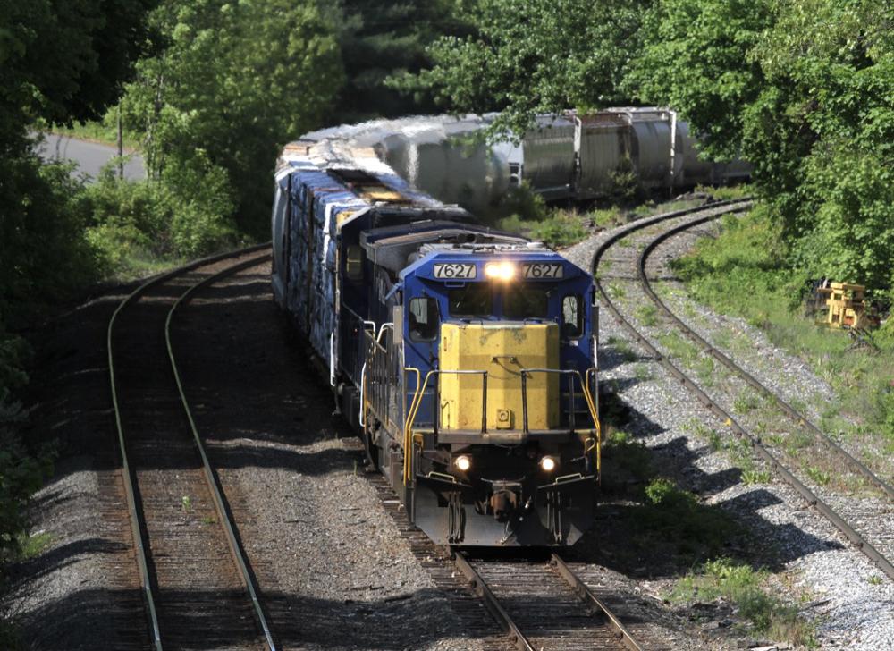 Train coming around curve