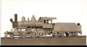 Baldwin builder's photo of 2-6-0 from 1925, used on a photo specification card.