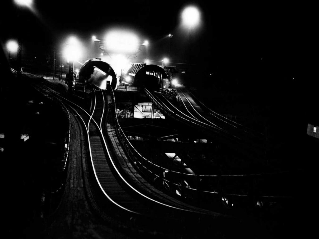 Tracks on coal transfer dock at night