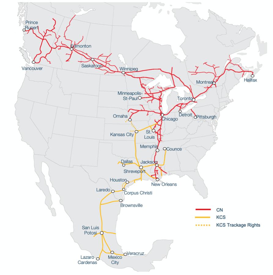 Map showing Canadian Naitonal and Kansas City Southern systems