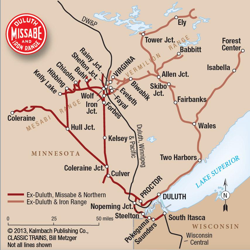 Map of Duluth, Missabe & Iron Range Railway