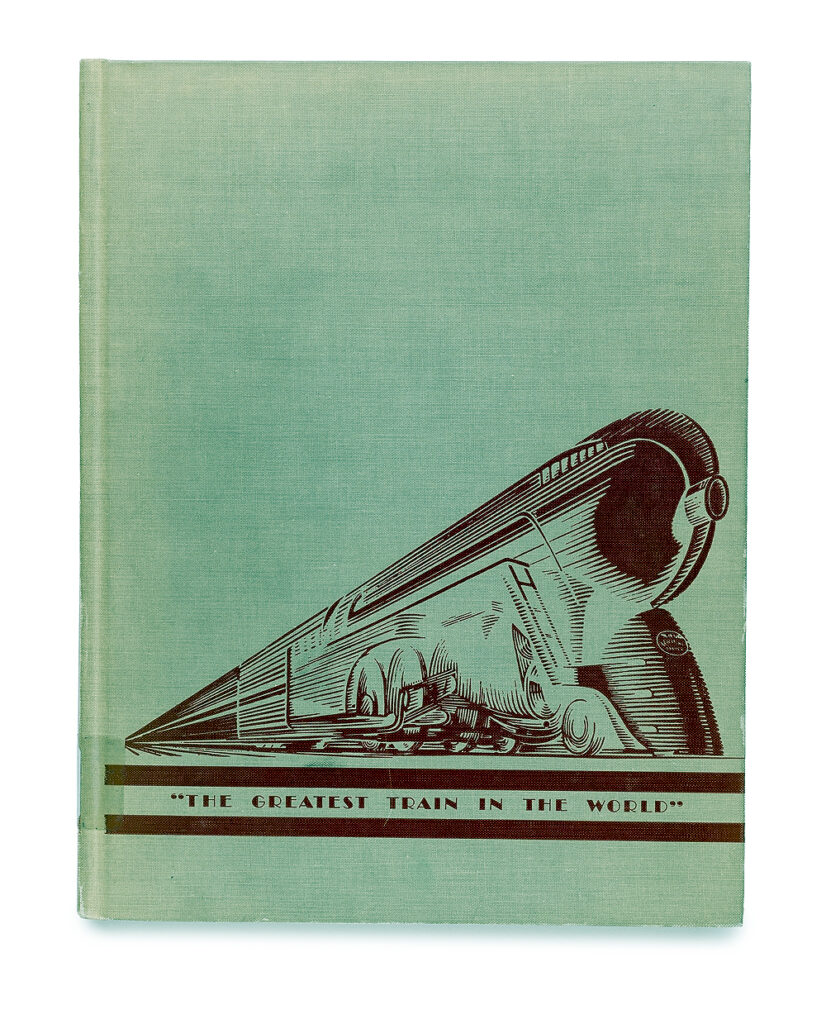 A green book cover featuring a streamlined steam locomotive