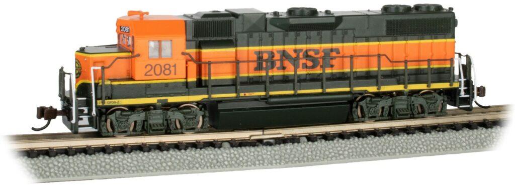 an orange diesel locomotive