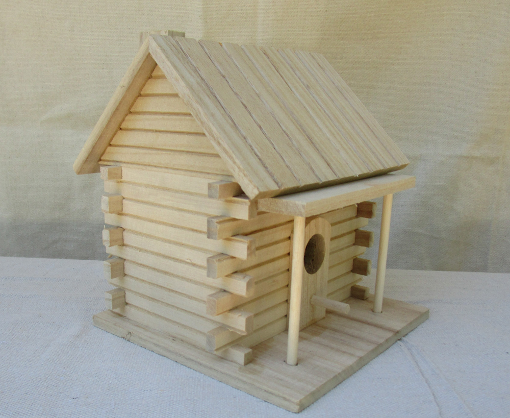 Unfinished wooden birdhouse from Michaels craft store