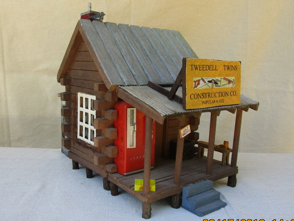 Tweedell Twins Construction Office made from a wooden birdhouse