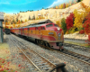 EMD E7A pulls red and orange Southern Pacific Daylight along two-track main line through western mountain scene in fall
