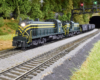A pair of yellow-striped green diesels leads a coal train out of a tunnel under a forested hill