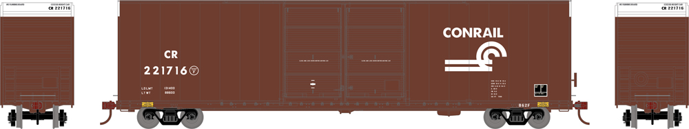 Side, front, and back of boxcar
