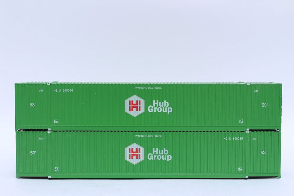 Two intermodal containers stacked on top of each other